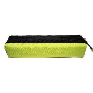 黑色雙拉鍊棉布筆袋/黃綠