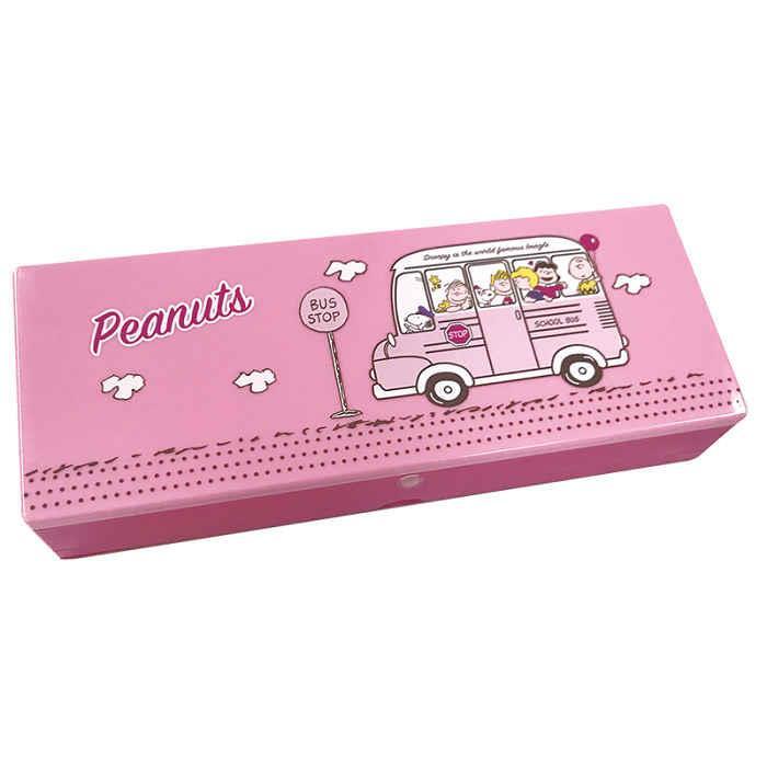 塑膠筆盒-史努比/粉色校車