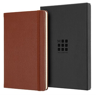 MOLESKINE  經典皮革L型橫線盒裝筆記本-棕