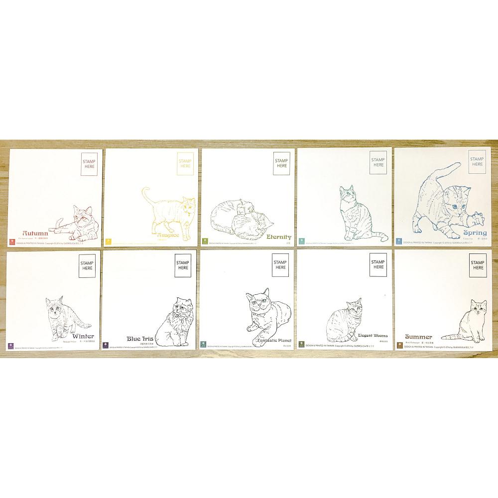 【捲毛力卡】10隻貓與老花磚明信片組