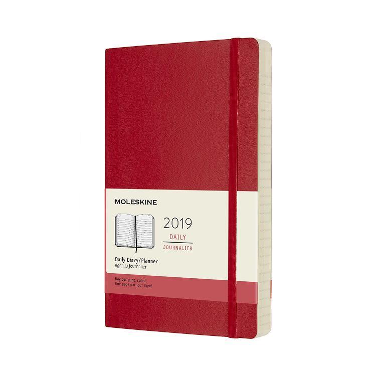 2019 MOLESKINE日記本12M軟皮-L型紅