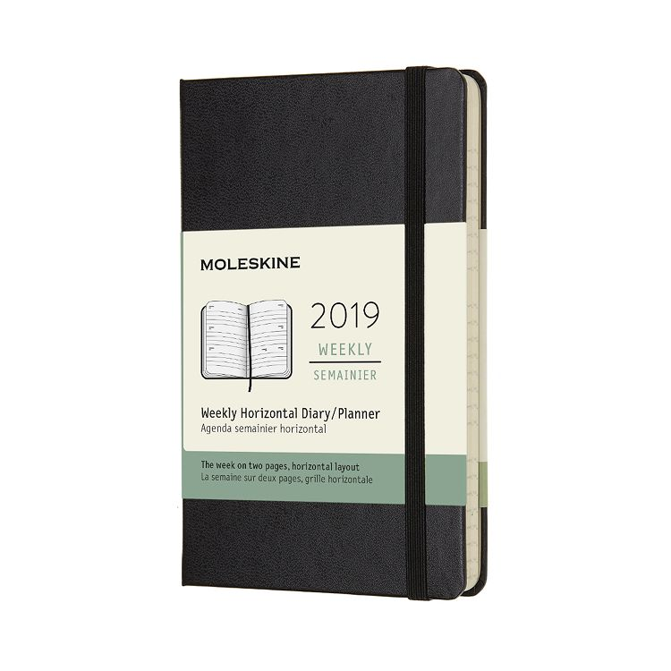 2019 MOLESKINE橫式週記手帳12M硬殼-口袋黑