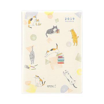 【MIDORI】POCKET DIARY 2019手帳(月雙週)A6-小貓咪