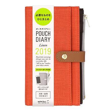 【MIDORI】Pouch Diary 2019亞麻手帳收納包-紅