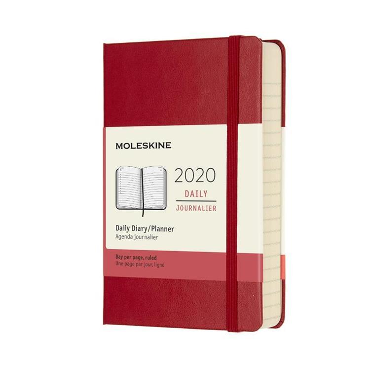 2020年【MOLESKINE】日記12M硬殼-口袋紅