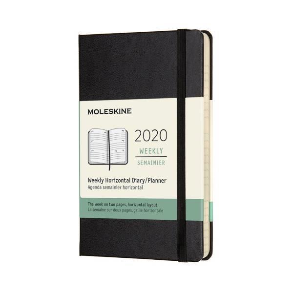 2020年【MOLESKINE】橫式週記12M硬殼-口袋黑