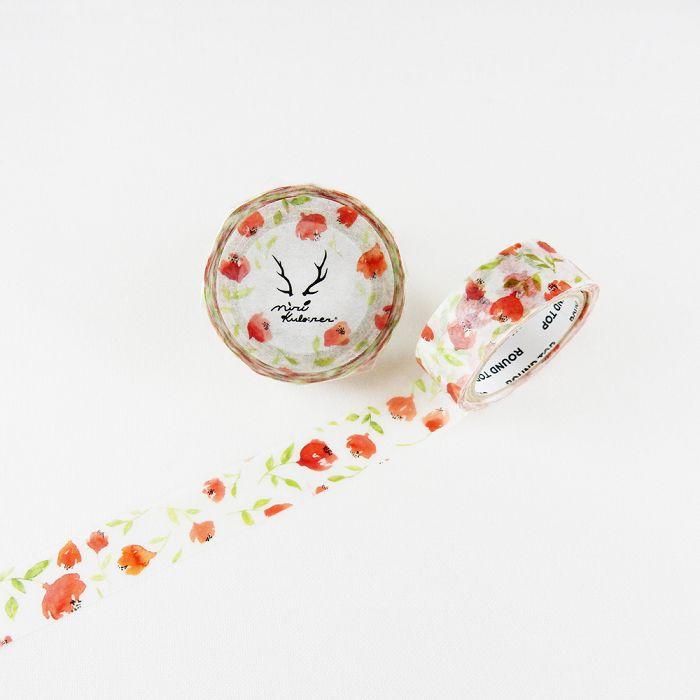 【ROUND TOP】MiriKulo:rer 原創系列和紙膠帶 - 赤紅花 ( MI-MK-016 )