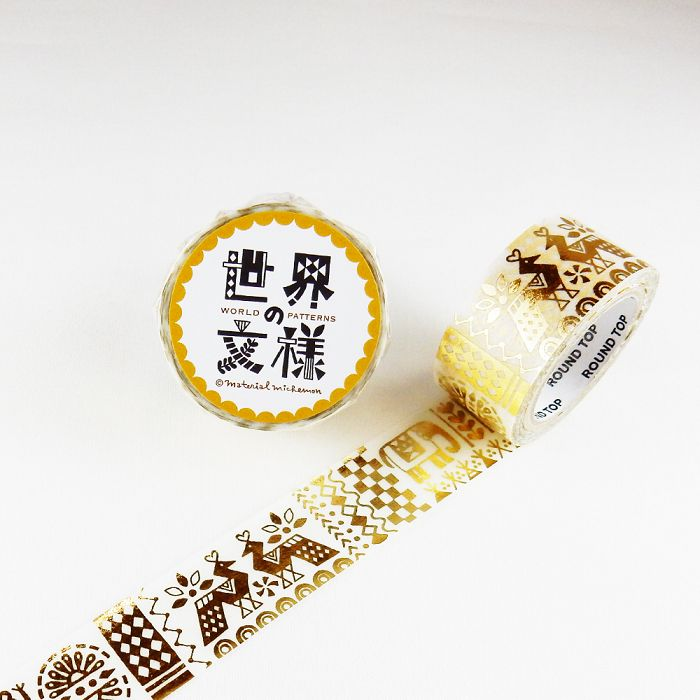 【ROUND TOP】箔押和紙膠帶 世界文樣 系列 - 印度 金箔 ( MM-MK-017 )