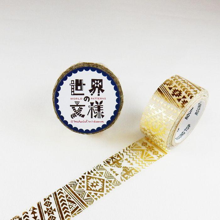 【ROUND TOP】箔押和紙膠帶 世界文樣 系列 - 印地安 金箔 ( MM-MK-019 )
