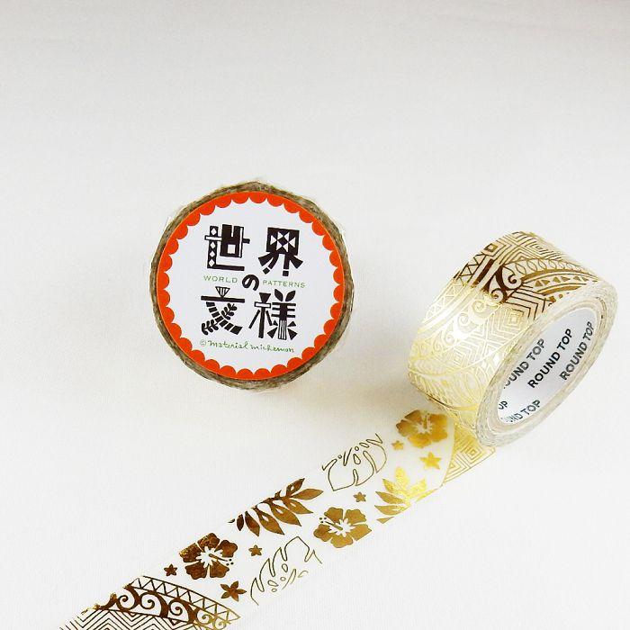 【ROUND TOP】箔押和紙膠帶 世界文樣 系列 - 夏威夷 金箔 ( MM-MK-020 )