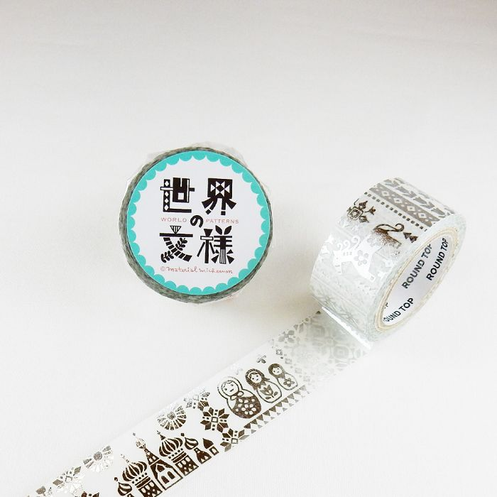 【ROUND TOP】箔押和紙膠帶 世界文樣 系列 - 俄羅斯 銀箔 ( MM-MK-021 )