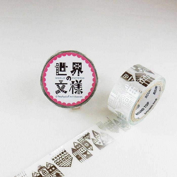 【ROUND TOP】箔押和紙膠帶 世界文樣 系列 - 北歐街道 銀箔 ( MM-MK-023 )