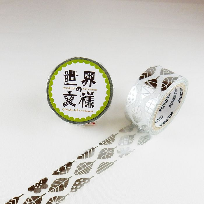 【ROUND TOP】箔押和紙膠帶 世界文樣 系列 - 北歐文樣樹葉 銀箔 ( MM-MK-024 )