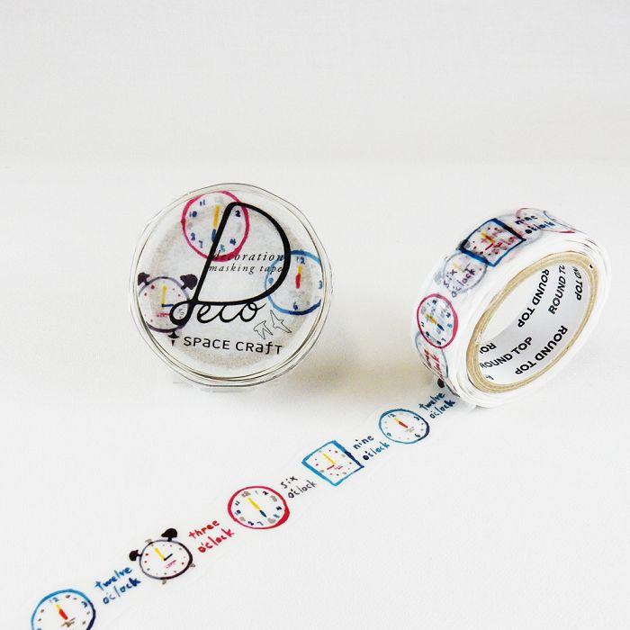 【ROUND TOP】Space Craft 箔押花邊造型 系列 和紙膠帶  - 時鐘 ( SC-MK-080 ) ‧銀箔