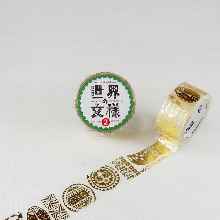 【ROUND TOP】箔押和紙膠帶 世界文樣 2 系列 - 非洲 金箔 ( MM-MK-025 )