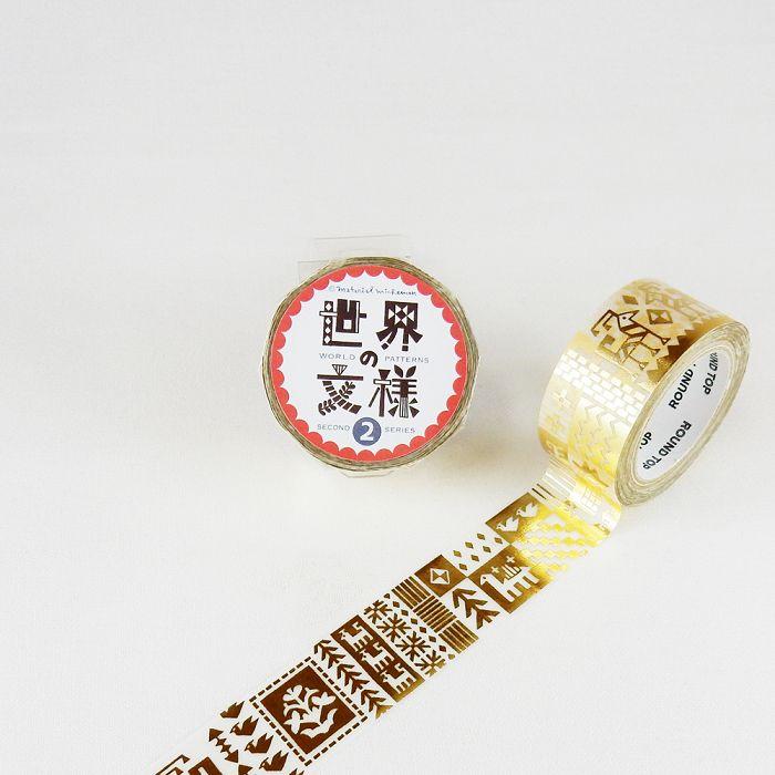 【ROUND TOP】箔押和紙膠帶 世界文樣 2 系列 - 絨毯 金箔 ( MM-MK-026 )