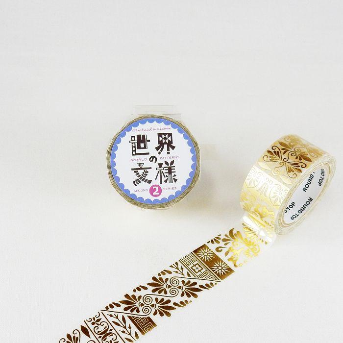 【ROUND TOP】箔押和紙膠帶 世界文樣 2 系列 - 希臘 金箔 ( MM-MK-027 )