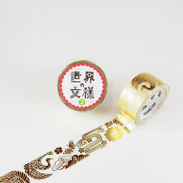【ROUND TOP】箔押和紙膠帶 世界文樣 2 系列 - 日式紅型 金箔 ( MM-MK-028 )