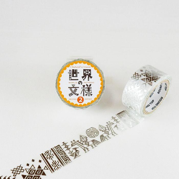 【ROUND TOP】箔押和紙膠帶 世界文樣 2 系列 - 不丹 銀箔 ( MM-MK-029 )