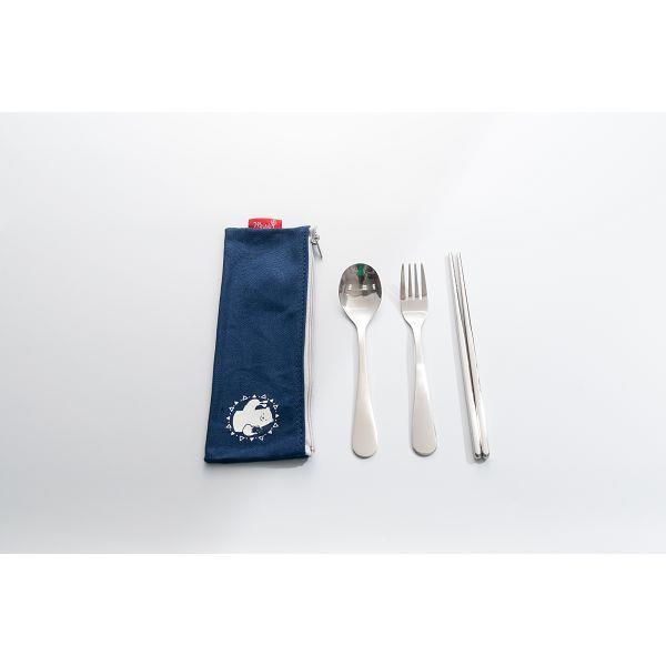 禾風漾藍餐具三件袋組-北極熊