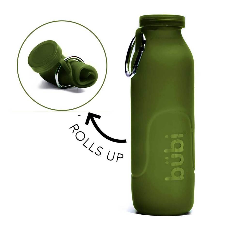 BUBI BOTTLE 矽膠摺疊多功能水壺1000ml-海藻綠