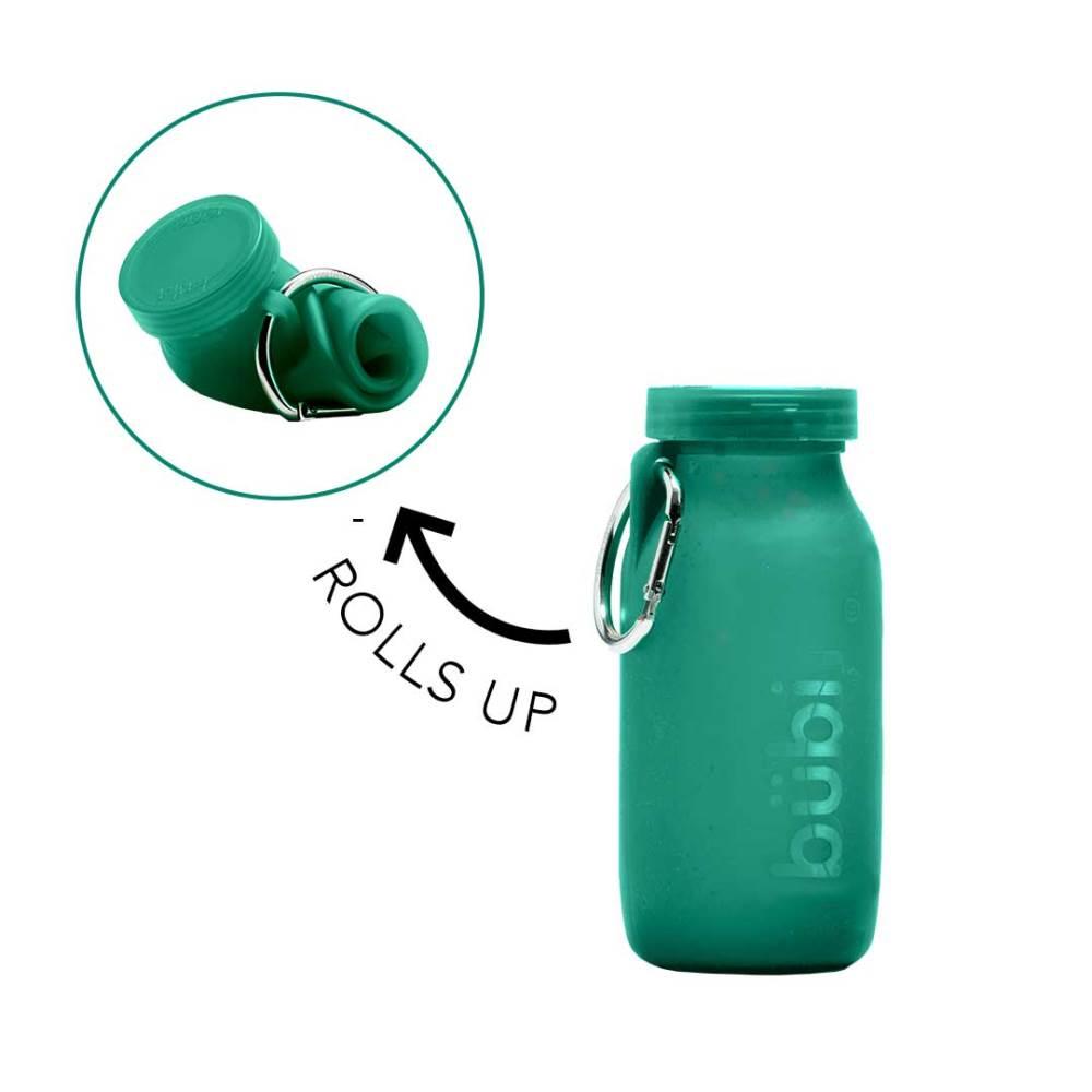 BUBI BOTTLE 矽膠摺疊多功能水壺414ml-藍綠色