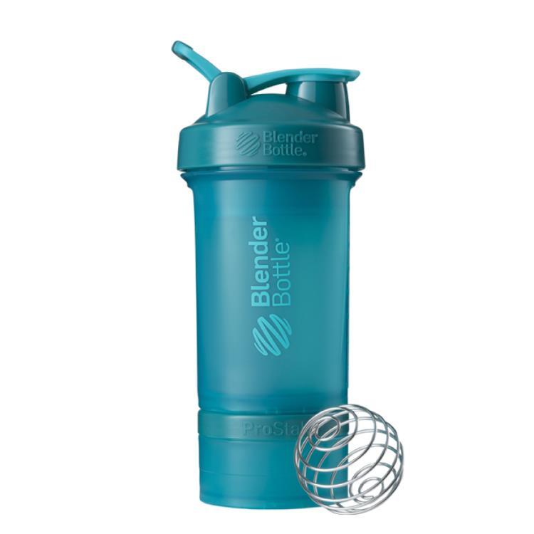 【Blender Bottle】ProStak多層分裝可拆式運動搖搖杯水壺 - 湖水綠