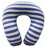 時尚記憶棉舒壓頸枕/藍色條紋