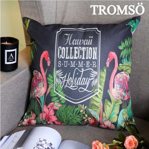 TROMSO 品味英倫棉麻抱枕U85夏威夷紅鶴