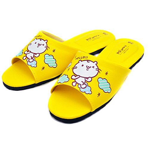 麻吉貓俏皮親子皮拖鞋-成人黃L 28cm