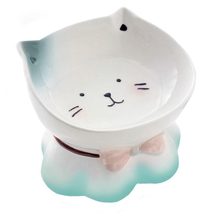 小萌貓彩繪瓷碗-湖水藍