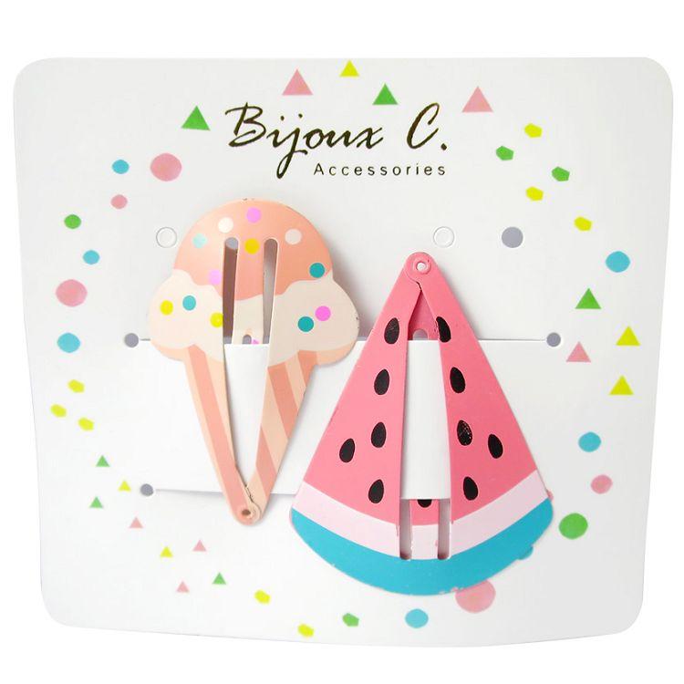 Bijoux C.兒童可愛造型啵啵夾-西瓜+冰淇淋2入