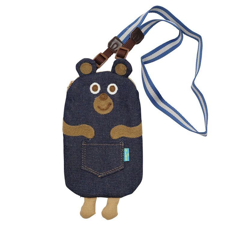 新深藍牛仔熊手機包
