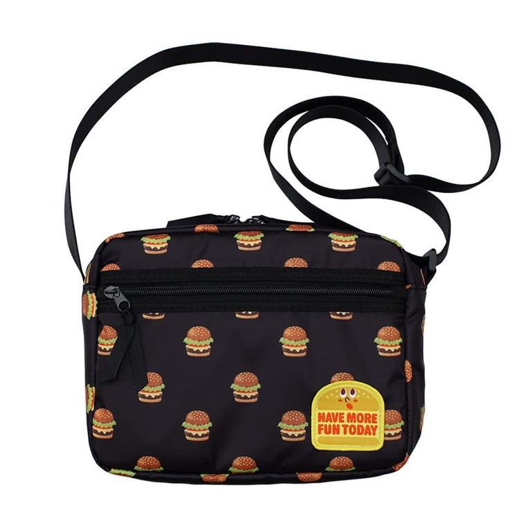 漢堡圖騰尼龍斜背包