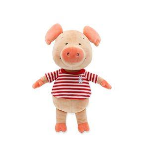 30cm紅條紋小豬威比坐姿玩偶
