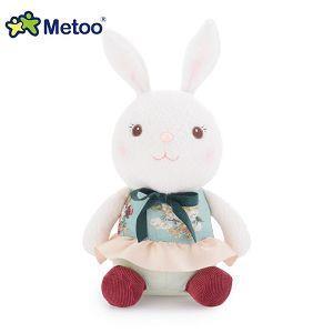Metoo 27cm提拉米兔坐姿玩偶-藍色碎花裙