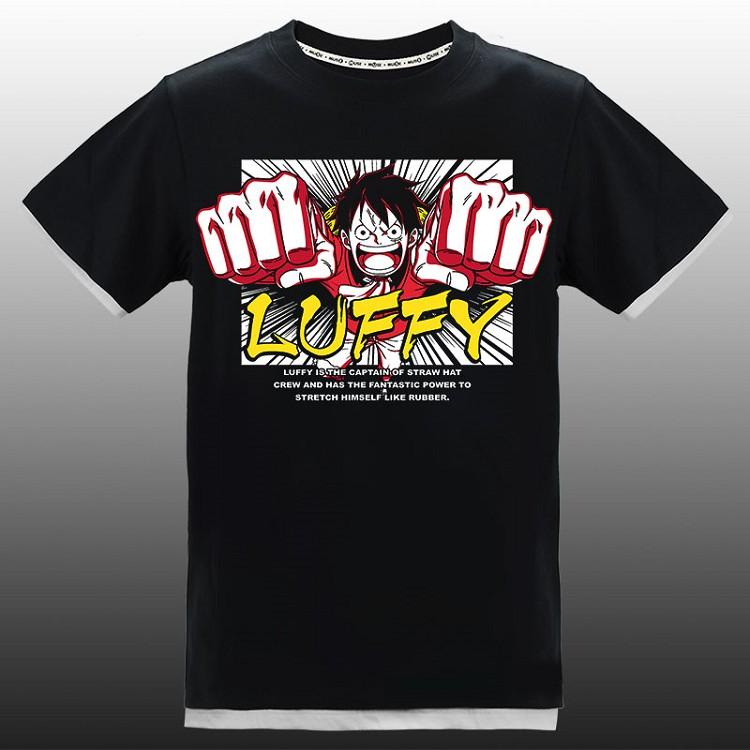 航海王-拼接潮流T-shirt(假兩件)(魯夫)L