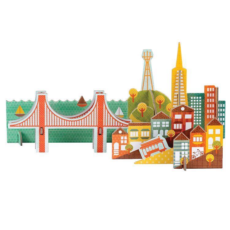 美國Petit Collage-立體組裝拼圖-城市之旅-舊金山