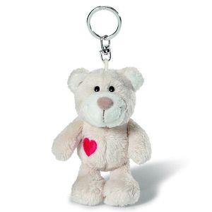 愛心熊鑰匙圈-米白