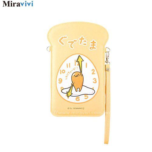 蛋黃哥土司造型萬用手機包5.5吋-時鐘