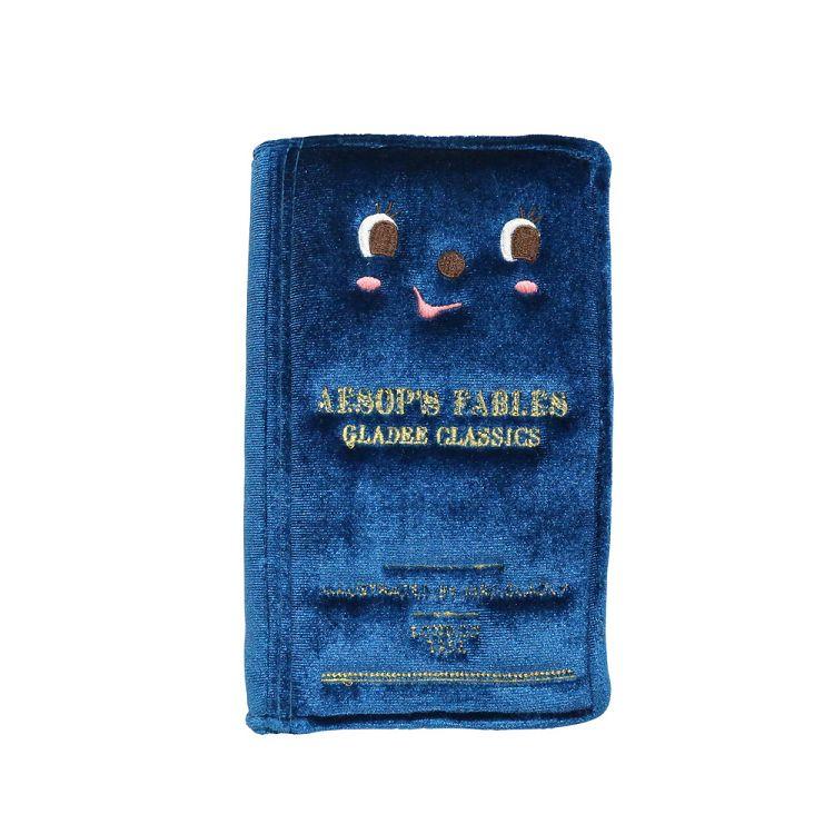 精裝書本造型手機包藍色