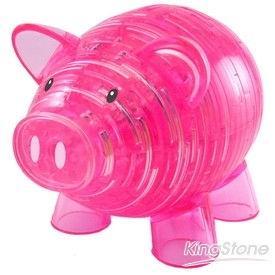 3D立體水晶拼圖-幸福小豬撲滿(粉紅色)