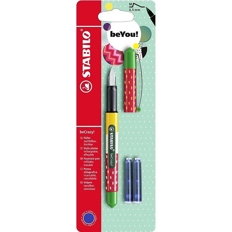 【STABILO】德國天鵝牌beCrazy!Fountain Pen M 0.5mm草莓鋼筆附3管墨水