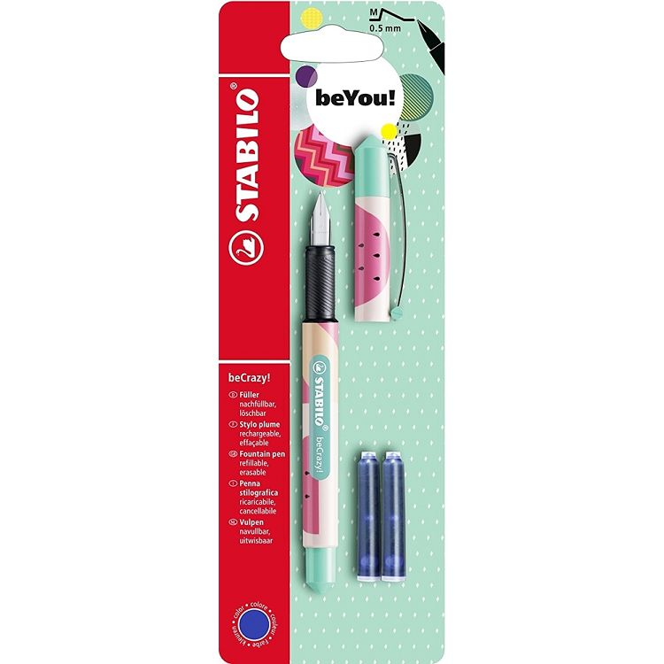 【STABILO】德國天鵝牌beCrazy!Fountain Pen M 0.5mm西瓜鋼筆附3管墨水