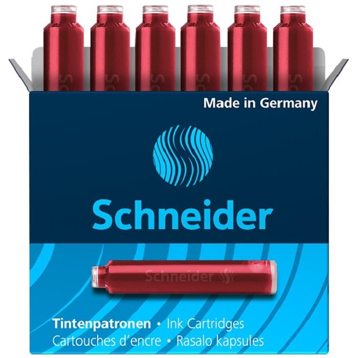 Schneider施奈德鋼筆卡式墨水管6入(歐規)-紅