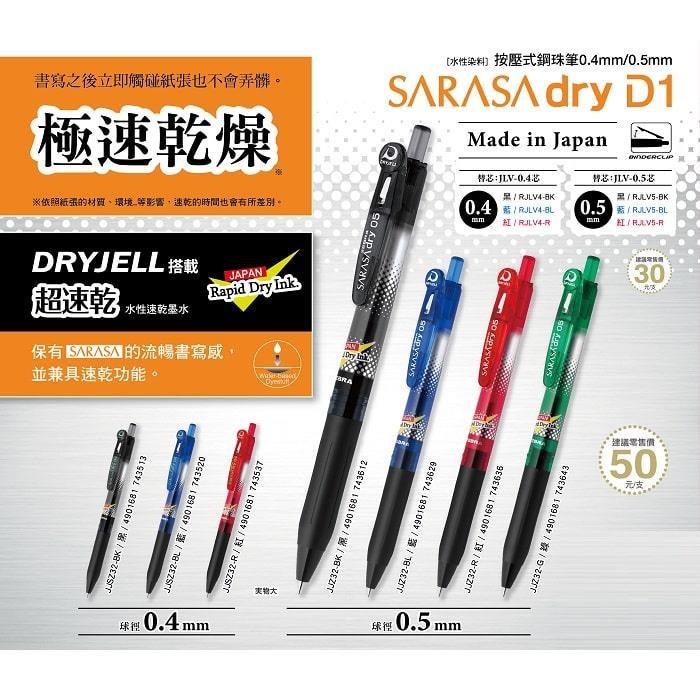 【ZEBRA斑馬】SARASA速乾鋼珠筆替芯JLV0.5-黑