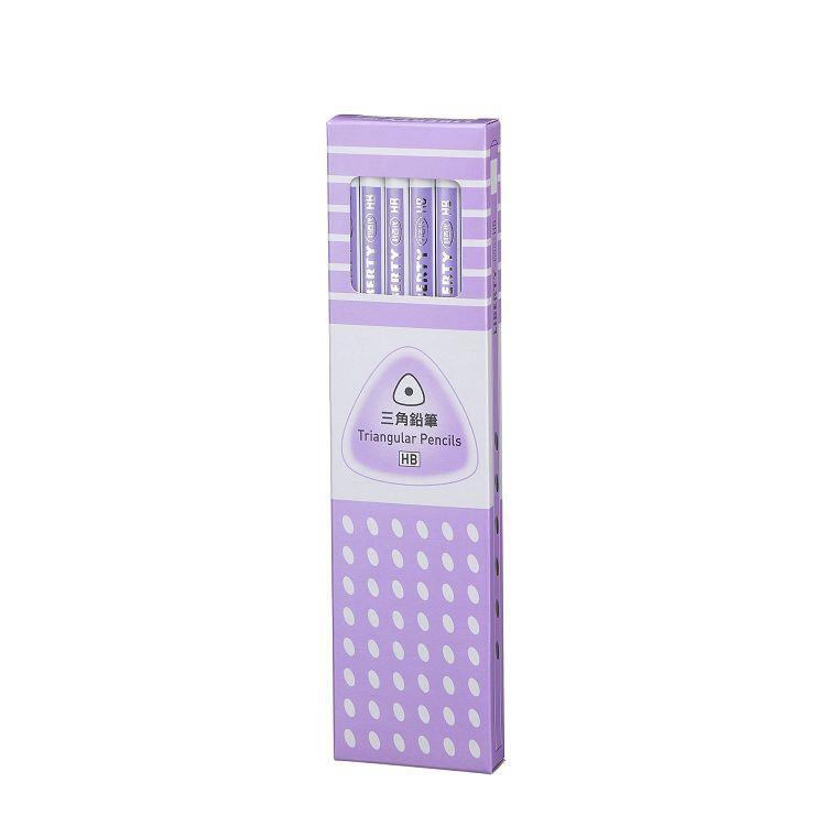 利百代三角拉線塗頭打裝鉛筆(HB)-粉紫桿
