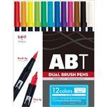 TOMBOW ABT雙頭彩色毛筆12色組-基本