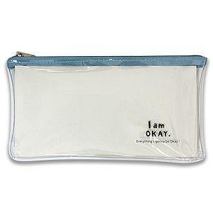 I am okay 透明筆袋-藍