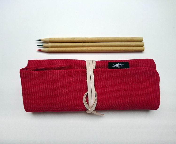 【綠的事務】Tissu牛津四格綁繩筆袋-紅